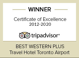 Certificate of Excellence logo Best Western Plus Travel Hotel Toronto Airport