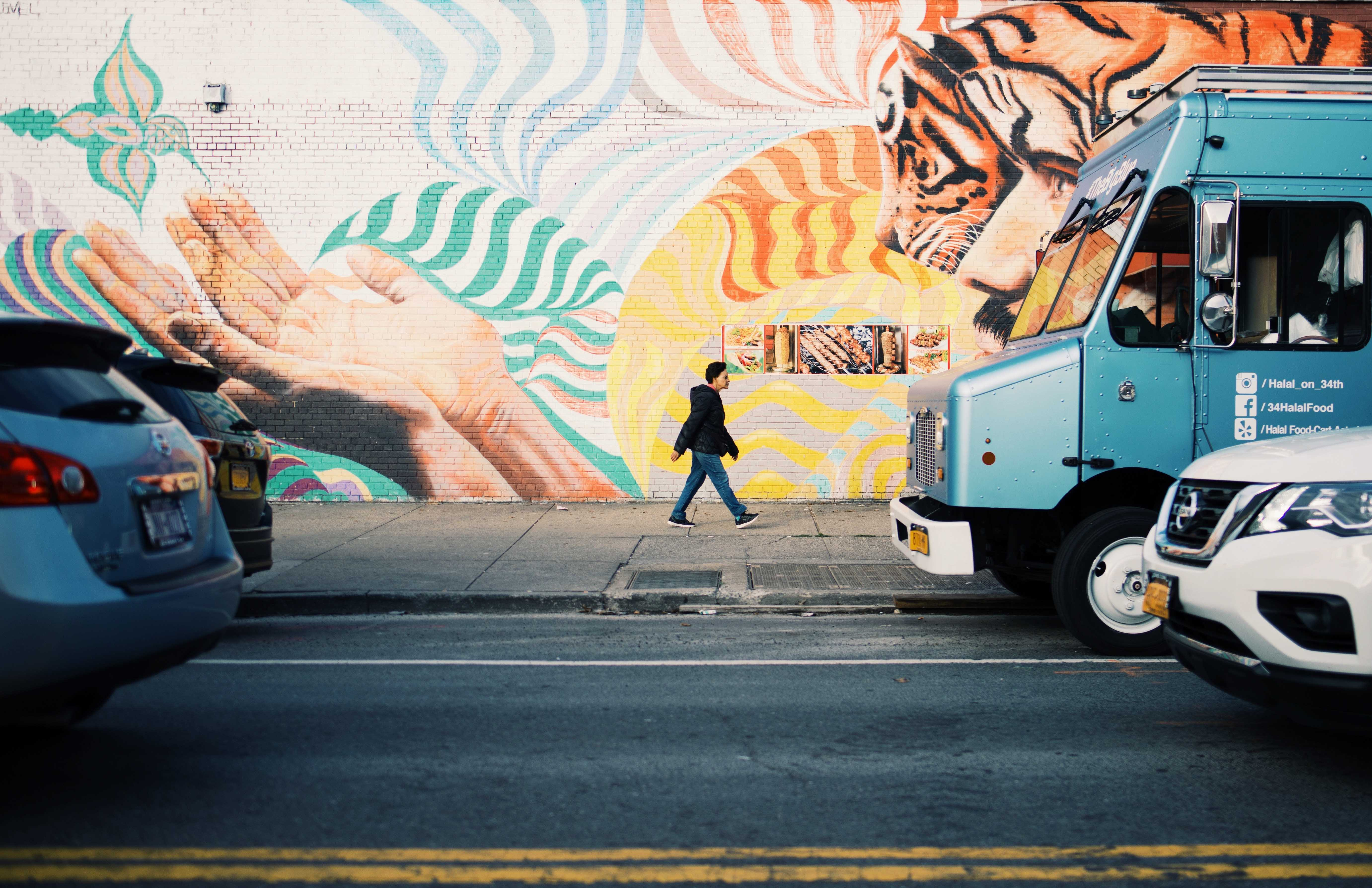 food truck and mural